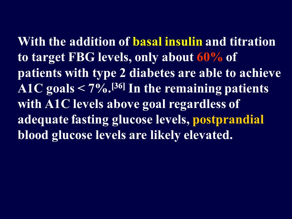 With the addition of basal insulin and titration to target FBG levels, only about 60% of patients with type 2 diabetes are able to achieve A1C goals < 7%.[36] In the remaining patients with A1C levels above goal regardless of adequate fasting glucose levels, postprandial blood glucose levels are likely elevated.